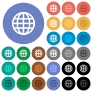 Globe multi colored flat icons on round backgrounds. Included white, light and dark icon variations for hover and active status effects, and bonus shades on black backgounds. - Globe round flat multi colored icons