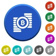 Bitcoins round color beveled buttons with smooth surfaces and flat white icons - Bitcoins beveled buttons - Large thumbnail
