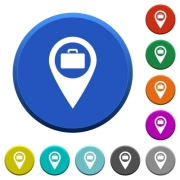 Baggage storage GPS map location round color beveled buttons with smooth surfaces and flat white icons - Baggage storage GPS map location beveled buttons