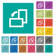 Rotate left multi colored flat icons on plain square backgrounds. Included white and darker icon variations for hover or active effects. - Rotate left square flat multi colored icons - Large thumbnail