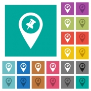 Pin GPS map location multi colored flat icons on plain square backgrounds. Included white and darker icon variations for hover or active effects. - Pin GPS map location square flat multi colored icons - Large thumbnail