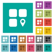 Component location multi colored flat icons on plain square backgrounds. Included white and darker icon variations for hover or active effects. - Component location square flat multi colored icons - Large thumbnail