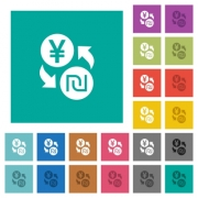 Yen new Shekel money exchange multi colored flat icons on plain square backgrounds. Included white and darker icon variations for hover or active effects. - Yen new Shekel money exchange square flat multi colored icons - Large thumbnail
