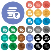 Indian Rupee coins multi colored flat icons on round backgrounds. Included white, light and dark icon variations for hover and active status effects, and bonus shades on black backgounds. - Indian Rupee coins round flat multi colored icons