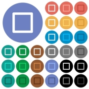 Media stop multi colored flat icons on round backgrounds. Included white, light and dark icon variations for hover and active status effects, and bonus shades on black backgounds. - Media stop round flat multi colored icons