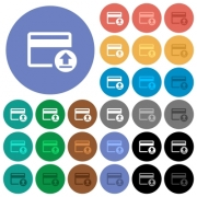 Credit card money deposit multi colored flat icons on round backgrounds. Included white, light and dark icon variations for hover and active status effects, and bonus shades on black backgounds. - Credit card money deposit round flat multi colored icons