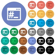Linux root terminal multi colored flat icons on round backgrounds. Included white, light and dark icon variations for hover and active status effects, and bonus shades on black backgounds. - Linux root terminal round flat multi colored icons