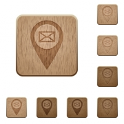 Address of GPS map location on rounded square carved wooden button styles - Address of GPS map location wooden buttons - Large thumbnail
