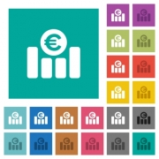 Euro financial graph multi colored flat icons on plain square backgrounds. Included white and darker icon variations for hover or active effects. - Euro financial graph square flat multi colored icons