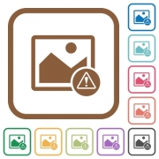 Image warning simple icons in color rounded square frames on white background - Image warning simple icons - Large thumbnail