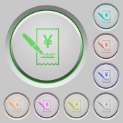 Signing Yen cheque color icons on sunk push buttons - Signing Yen cheque push buttons