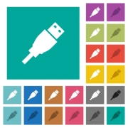 USB plug multi colored flat icons on plain square backgrounds. Included white and darker icon variations for hover or active effects. - USB plug square flat multi colored icons
