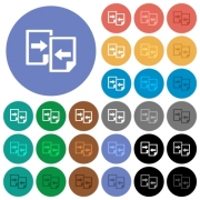 Share documents multi colored flat icons on round backgrounds. Included white, light and dark icon variations for hover and active status effects, and bonus shades on black backgounds. - Share documents round flat multi colored icons