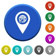 International route GPS map location round color beveled buttons with smooth surfaces and flat white icons