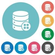 Database modules flat white icons on round color backgrounds - Database modules flat round icons