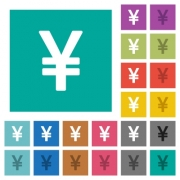 Japanese Yen sign multi colored flat icons on plain square backgrounds. Included white and darker icon variations for hover or active effects. - Japanese Yen sign square flat multi colored icons - Large thumbnail