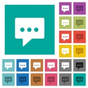 Working chat multi colored flat icons on plain square backgrounds. Included white and darker icon variations for hover or active effects. - Working chat square flat multi colored icons