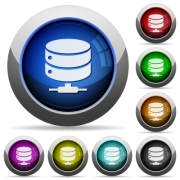 Network database icons in round glossy buttons with steel frames - Network database round glossy buttons