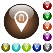 Delete GPS map location white icons on round color glass buttons - Delete GPS map location color glass buttons