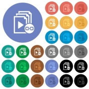 Link playlist multi colored flat icons on round backgrounds. Included white, light and dark icon variations for hover and active status effects, and bonus shades on black backgounds. - Link playlist round flat multi colored icons