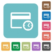 Credit card transaction history white flat icons on color rounded square backgrounds - Credit card transaction history rounded square flat icons