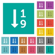 Ascending numbered list multi colored flat icons on plain square backgrounds. Included white and darker icon variations for hover or active effects. - Ascending numbered list square flat multi colored icons