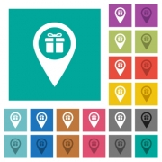 Gift shop GPS map location multi colored flat icons on plain square backgrounds. Included white and darker icon variations for hover or active effects. - Gift shop GPS map location square flat multi colored icons