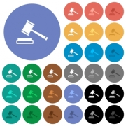Auction hammer multi colored flat icons on round backgrounds. Included white, light and dark icon variations for hover and active status effects, and bonus shades on black backgounds. - Auction hammer round flat multi colored icons