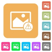 Image warning flat icons on rounded square vivid color backgrounds.