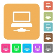 Network computer flat icons on rounded square vivid color backgrounds. - Network computer rounded square flat icons
