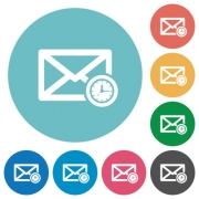 Queued mail flat white icons on round color backgrounds - Queued mail flat round icons