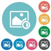 Adjust image contrast flat white icons on round color backgrounds - Adjust image contrast flat round icons