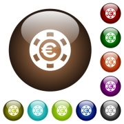 Euro casino chip white icons on round color glass buttons - Euro casino chip color glass buttons