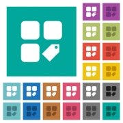 Tag component multi colored flat icons on plain square backgrounds. Included white and darker icon variations for hover or active effects. - Tag component square flat multi colored icons