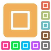 Media stop flat icons on rounded square vivid color backgrounds. - Media stop rounded square flat icons