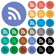 Radio signal multi colored flat icons on round backgrounds. Included white, light and dark icon variations for hover and active status effects, and bonus shades on black backgounds. - Radio signal round flat multi colored icons
