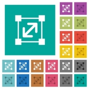 Resize element multi colored flat icons on plain square backgrounds. Included white and darker icon variations for hover or active effects. - Resize element square flat multi colored icons