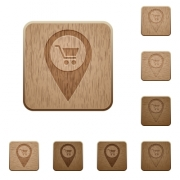 Department store GPS map location on rounded square carved wooden button styles - Department store GPS map location wooden buttons