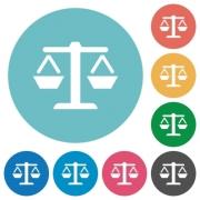 Balance flat white icons on round color backgrounds - Balance flat round icons