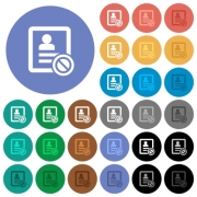 Contact disabled multi colored flat icons on round backgrounds. Included white, light and dark icon variations for hover and active status effects, and bonus shades on black backgounds. - Contact disabled round flat multi colored icons