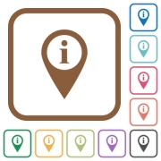 GPS map location information simple icons in color rounded square frames on white background - GPS map location information simple icons