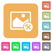 Image tools flat icons on rounded square vivid color backgrounds. - Image tools rounded square flat icons - Large thumbnail