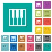 Piano keyboard multi colored flat icons on plain square backgrounds. Included white and darker icon variations for hover or active effects. - Piano keyboard square flat multi colored icons