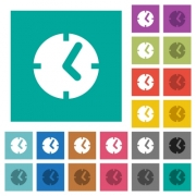 Clock multi colored flat icons on plain square backgrounds. Included white and darker icon variations for hover or active effects. - Clock square flat multi colored icons
