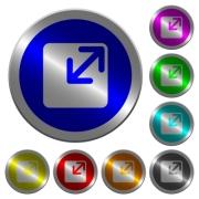 Resize window icons on round luminous coin-like color steel buttons - Resize window luminous coin-like round color buttons