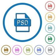 PSD file format flat color vector icons with shadows in round outlines on white background - PSD file format icons with shadows and outlines