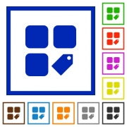 Tag component flat color icons in square frames on white background - Tag component flat framed icons