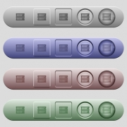 Rack servers icons on rounded horizontal menu bars in different colors and button styles - Rack servers icons on horizontal menu bars