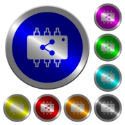 Connect hardware icons on round luminous coin-like color steel buttons - Connect hardware luminous coin-like round color buttons