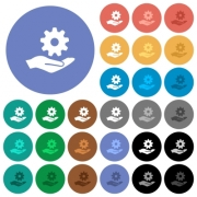 Maintenance service multi colored flat icons on round backgrounds. Included white, light and dark icon variations for hover and active status effects, and bonus shades on black backgounds. - Maintenance service round flat multi colored icons